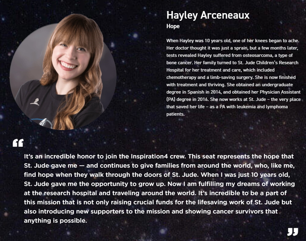 hayley arceneaux besætningsmedlem inspiration4 mission spacex / newz.dk